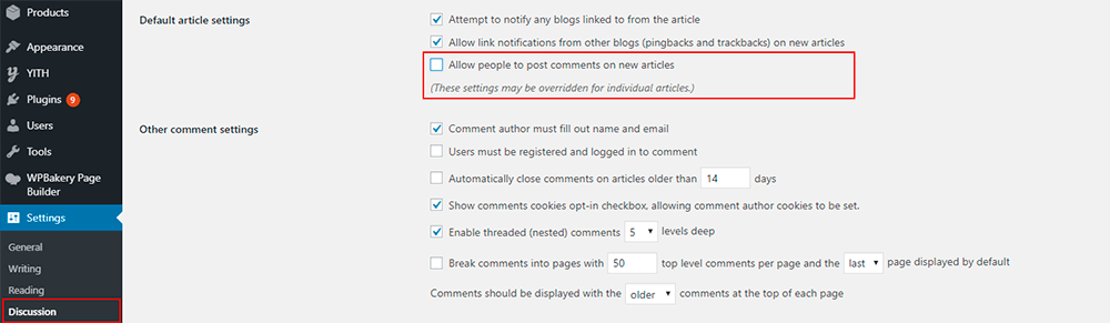 How To Disable Comments in WordPress Step 1